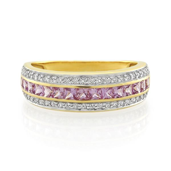 9CT Yellow Gold 0.25ct Diamond & Pink Sapphire Ladies Ring - Monty Adams