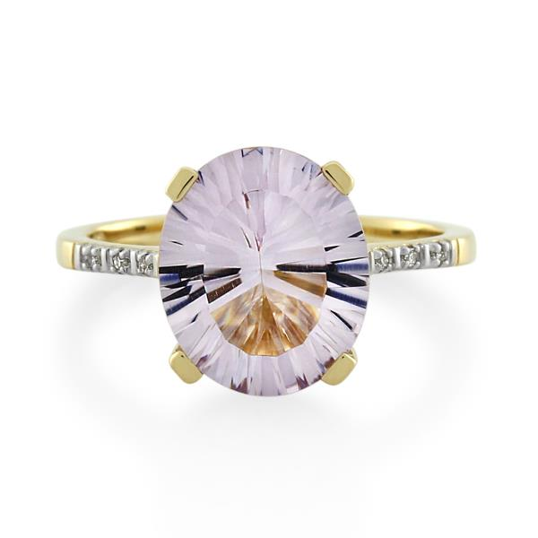 9CT Yellow Gold Diamond & Pink Amethyst Ladies Ring - Monty Adams
