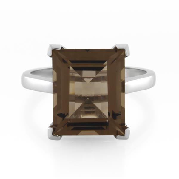 9CT White Gold Smoky Quartz Ladies Ring - Monty Adams