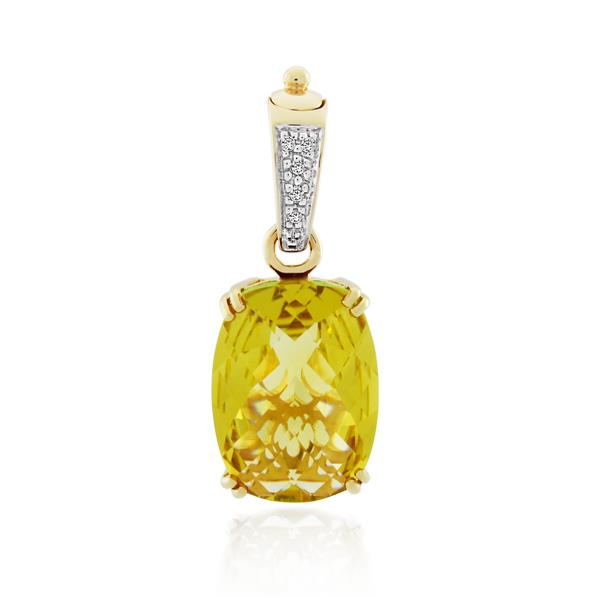 9CT Yellow Gold Diamond & Lemon Quartz Pendant - Monty Adams