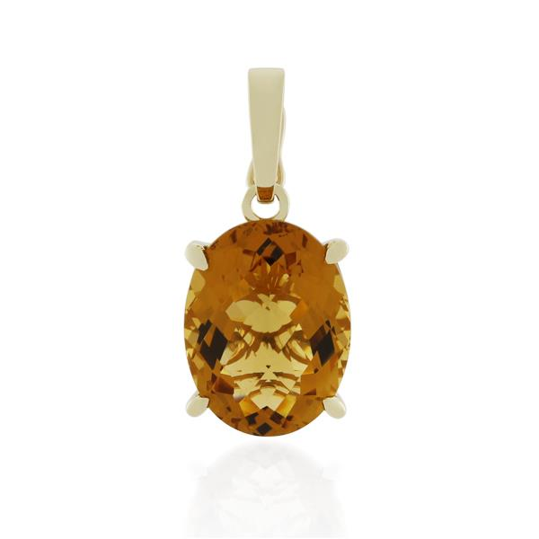 9CT Yellow Gold Citrine Pendant - Monty Adams
