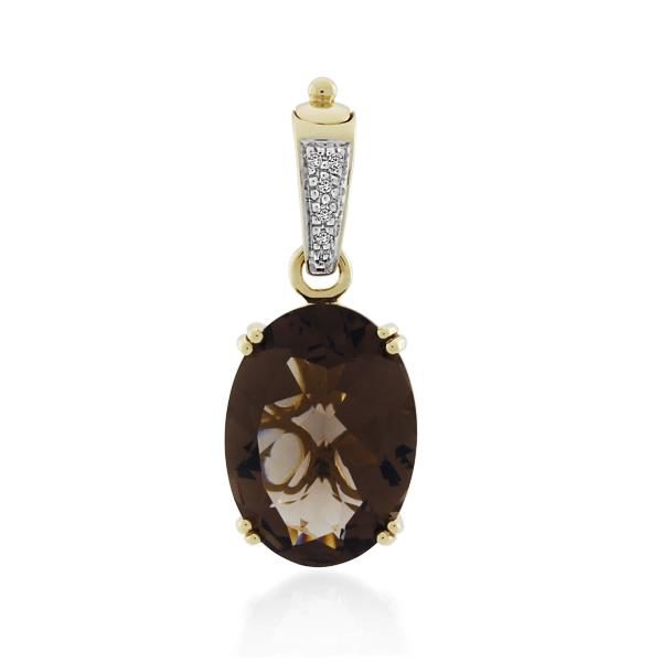 9CT Yellow Gold Diamond & Smoky Quartz Pendant - Monty Adams