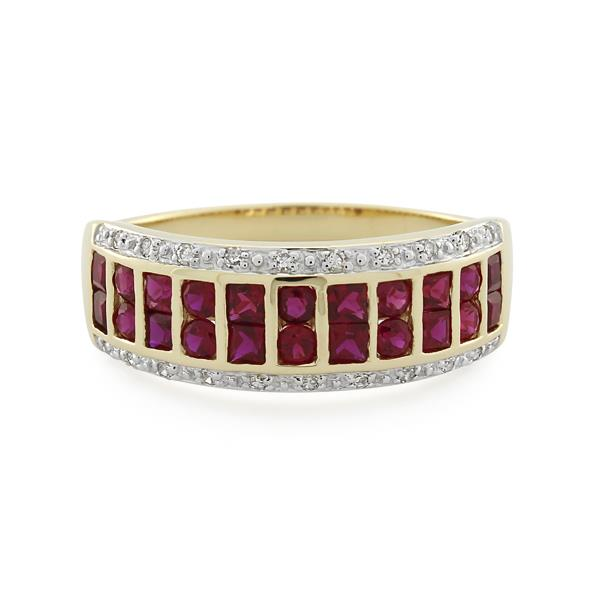 9CT Yellow Gold Diamond & Created Ruby Ladies Ring - Monty Adams