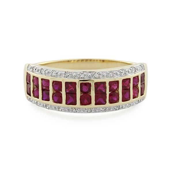 9CT Yellow Gold Diamond & Created Ruby Ladies Ring - Monty Adams