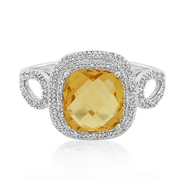 9CT White Gold 0.19ct Diamond & Citrine Ladies Ring - Monty Adams