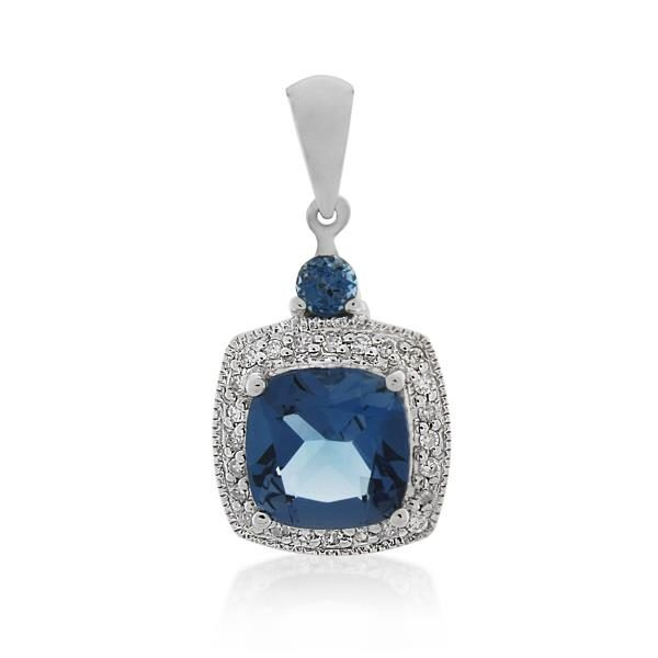9CT White Gold 0.12ct Diamond & London Blue Topaz Pendant - Monty Adams