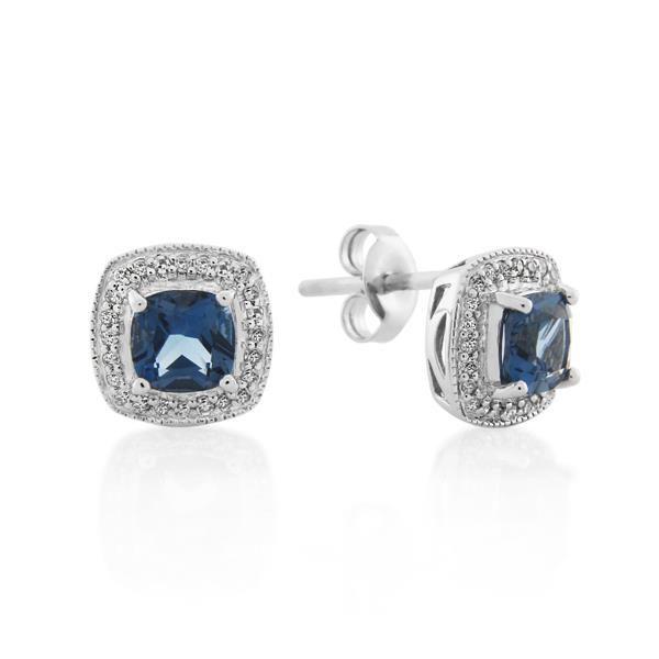 9CT White Gold 0.16ct Diamond & London Blue Topaz Earrings - Monty Adams