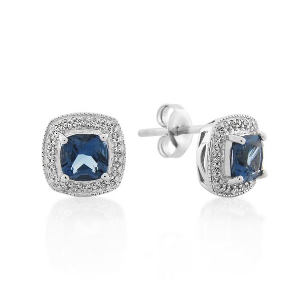 9CT White Gold 0.16ct Diamond & London Blue Topaz Earrings - Monty Adams