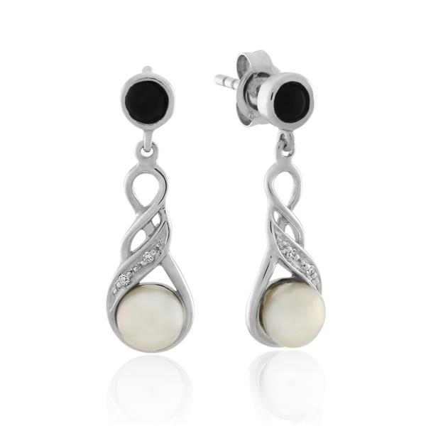9CT White Gold Diamond & Onyx & White Freshwater Pearl Earrings - Monty Adams
