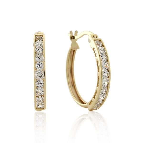 9CT Yellow Gold White Cubic Zirconia Earrings -Inner Diameter =16.0 mm - Monty Adams