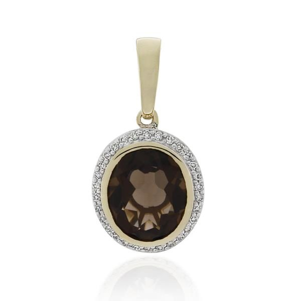 9CT Yellow Gold 0.15ct Diamond & Smoky Quartz Pendant - Monty Adams