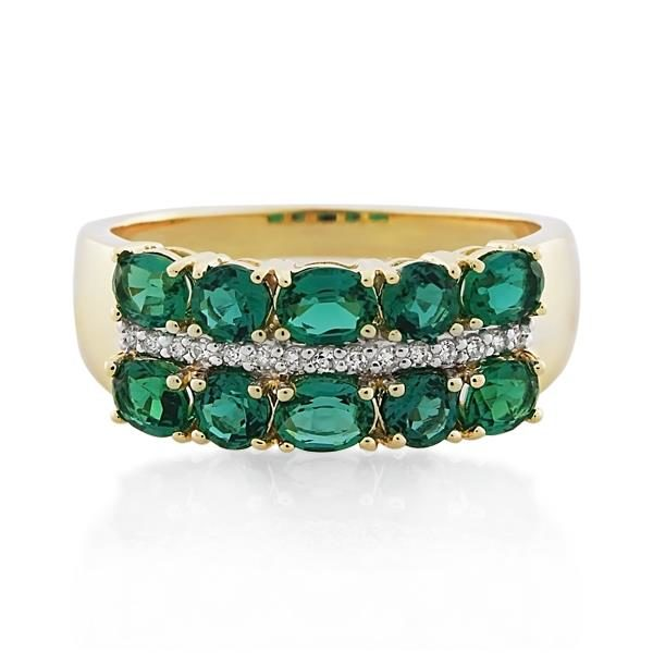9CT Yellow Gold Diamond & Created Emerald Ladies Ring - Monty Adams