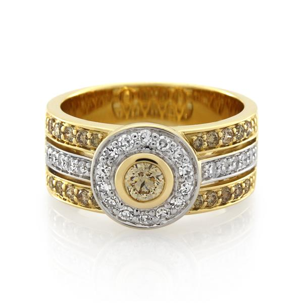 9CT Yellow Gold 0.75ct Chocolate Diamond & Cognac Diamond & Diamond Ladies Ring - Monty Adams