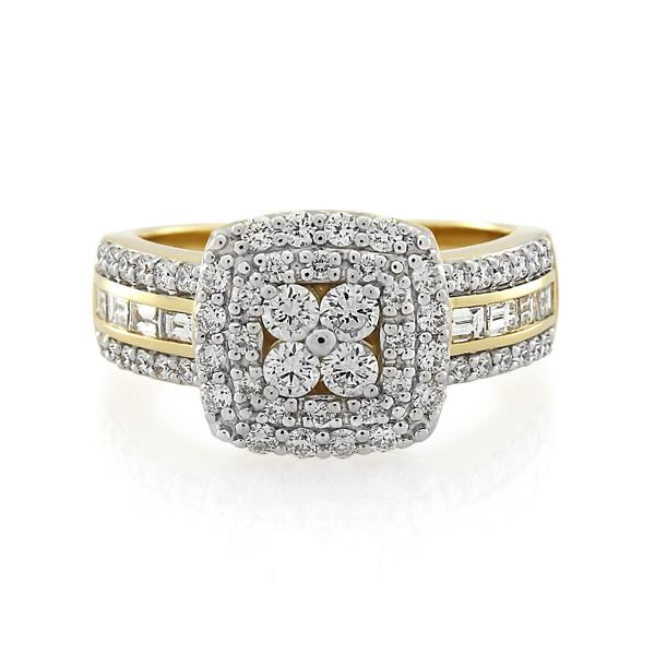 9CT Yellow Gold 0.97ct Diamond Ladies Ring - Monty Adams