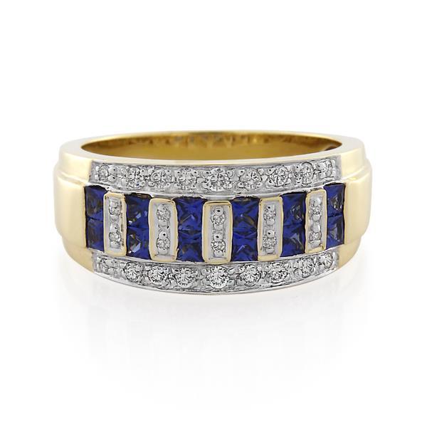 9CT Yellow Gold 0.20ct Diamond & Ceylon Sapphire Ladies Ring - Monty Adams