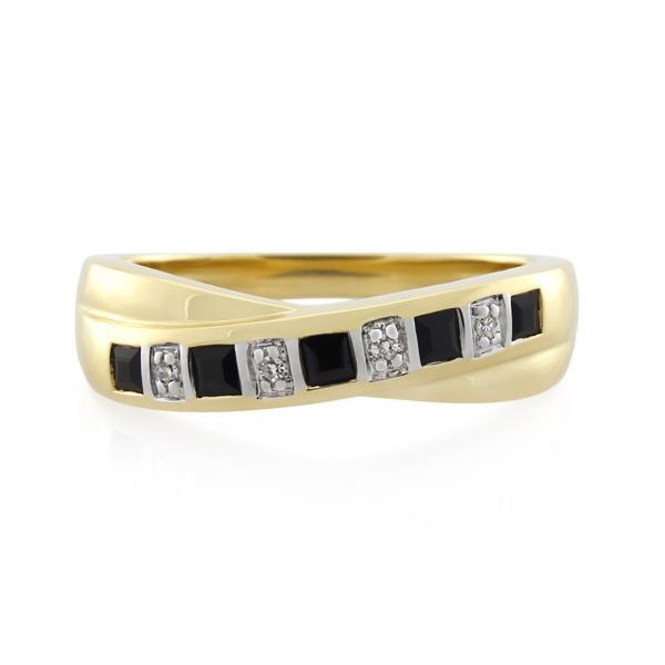 9CT Yellow Gold Diamond & Dark Sapphire Ladies Ring - Monty Adams