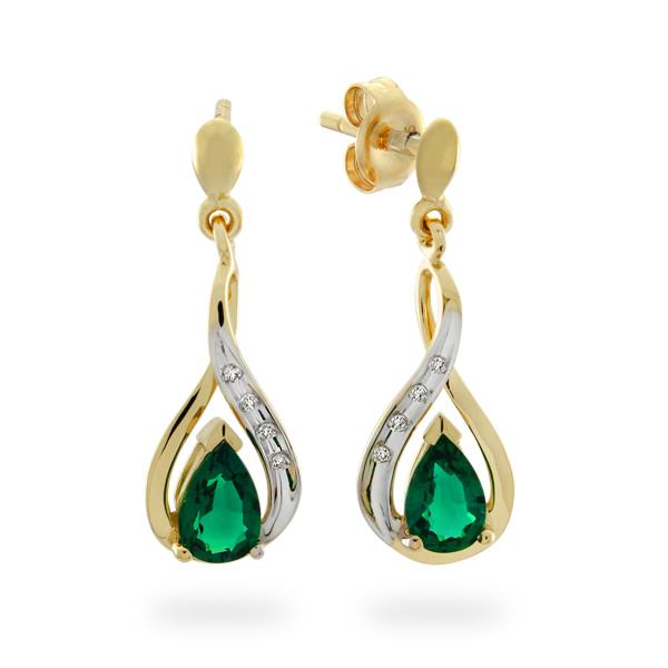 9CT Yellow Gold Diamond & Created Emerald Earrings - Monty Adams