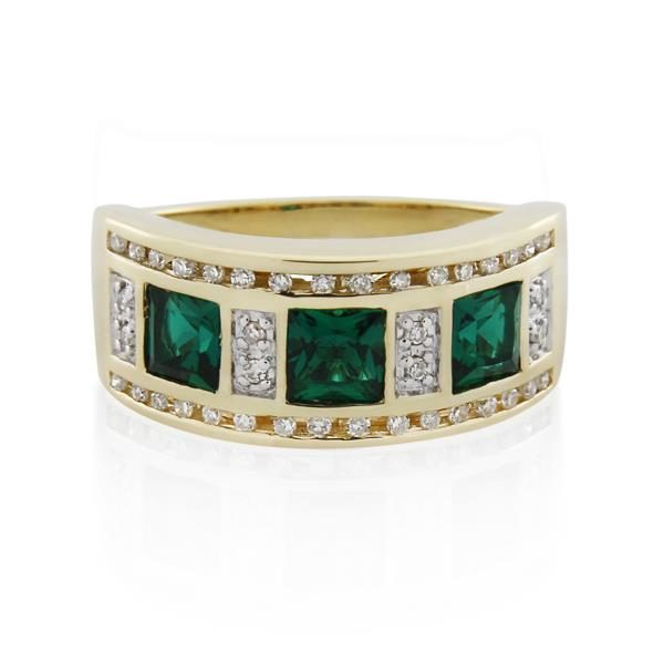 9CT Yellow Gold 0.20ct Diamond & Created Emerald Ladies Ring - Monty Adams