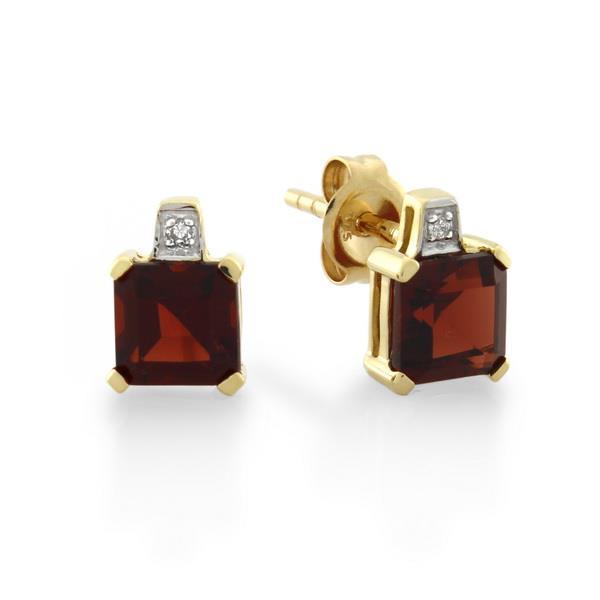 9CT Yellow Gold Diamond & Garnet Earrings - Monty Adams