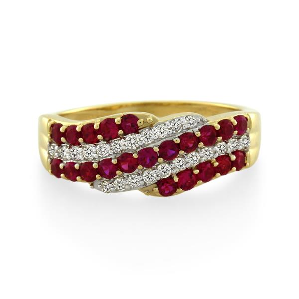 9CT Yellow Gold 0.25ct Diamond & Created Ruby Ladies Ring - Monty Adams
