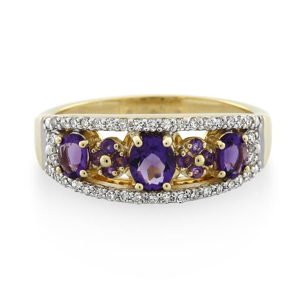 9CT Yellow Gold 0.25ct Diamond & Amethyst Ladies Ring - Monty Adams