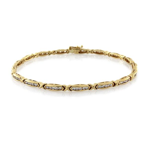 9CT Yellow Gold White Cubic Zirconia Bracelet 19 cm - Monty Adams