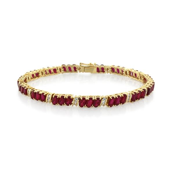 9CT Yellow Gold Created Ruby & White Cubic Zirconia Bracelet 19 cm - Monty Adams