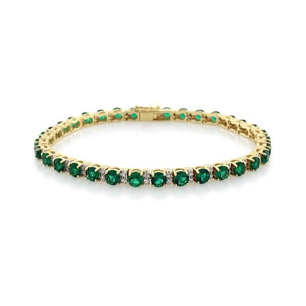 9CT Yellow Gold Created Emerald & White Cubic Zirconia Bracelet 19.5 cm - Monty Adams
