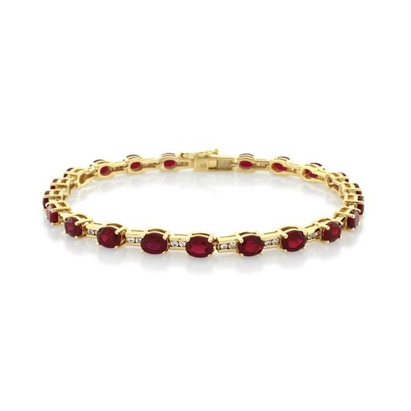 Yellow gold white cubic zirconia and ruby bracelet