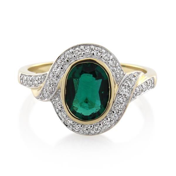 9CT Yellow Gold 0.25ct Diamond & Created Emerald Ladies Ring - Monty Adams