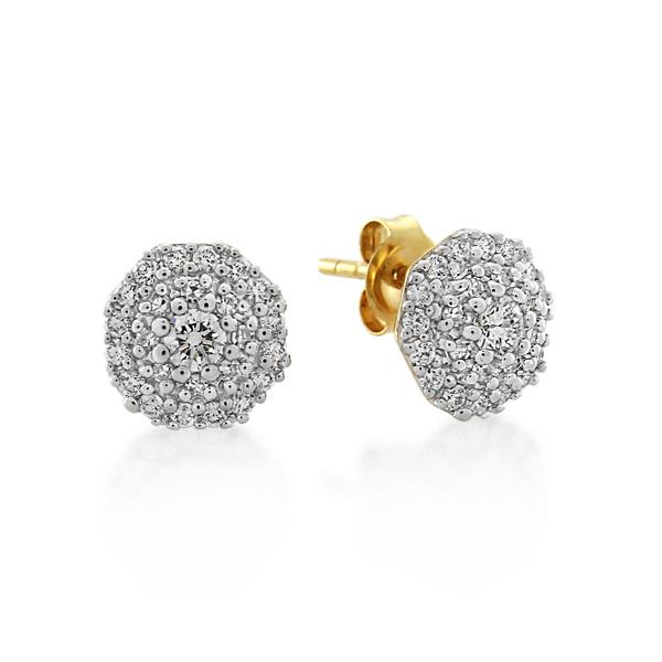A pair of yellow gold melee diamond earrings