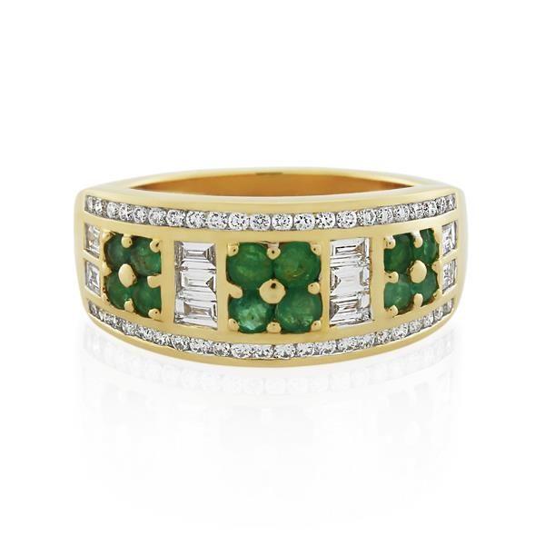 9CT Yellow Gold 0.58ct Diamond & Emerald Ladies Ring - Monty Adams