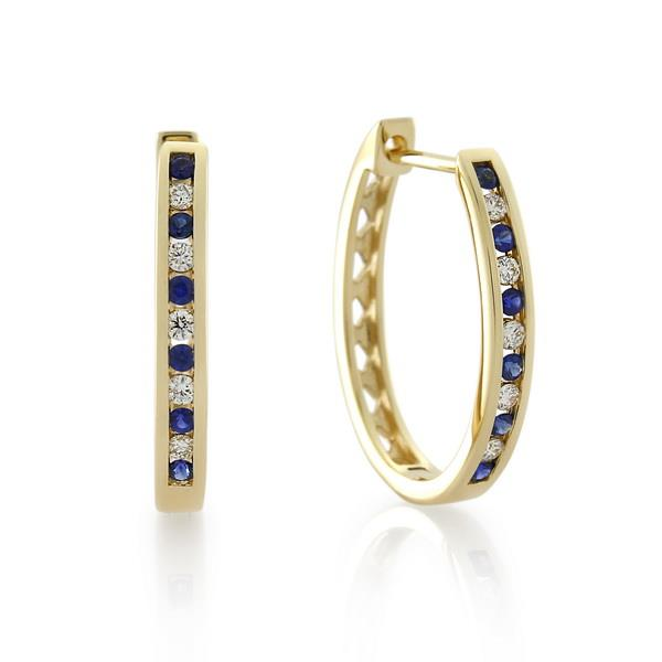 9CT Yellow Gold 0.15ct Diamond & Sapphire Earrings 18.0 mm. long x 13.7 mm. wide - Monty Adams