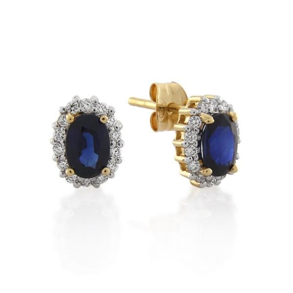 18CT Yellow Gold 0.28ct Diamond & Sapphire Earrings - Monty Adams