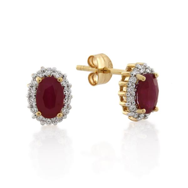 18CT Yellow Gold 0.28ct Diamond & Ruby Earrings - Monty Adams