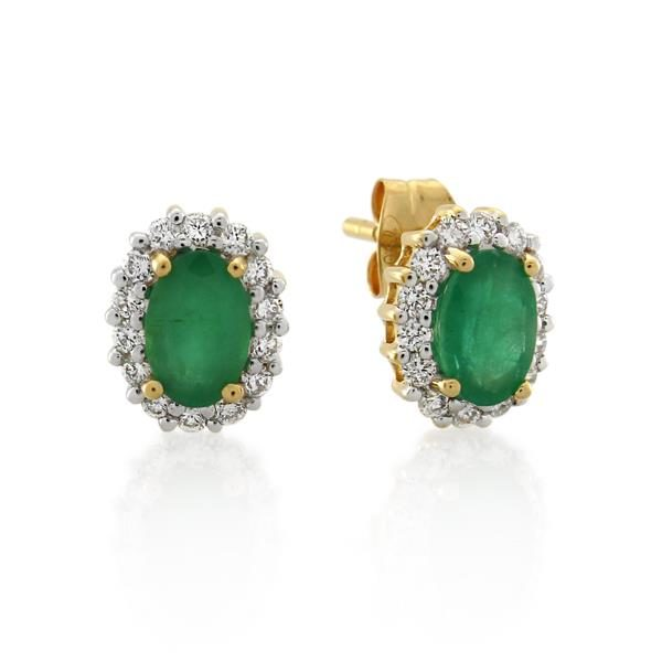 18CT Yellow Gold 0.28ct Diamond & Emerald Earrings - Monty Adams