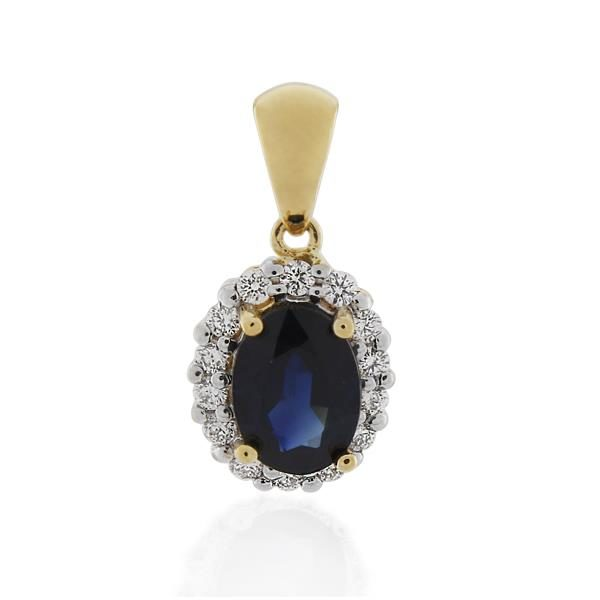 18CT Yellow Gold 0.17ct Diamond & Sapphire Pendant - Monty Adams