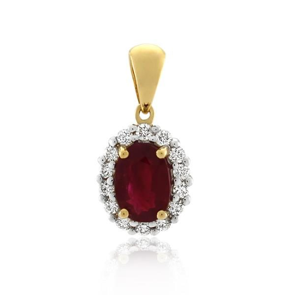 18CT Yellow Gold 0.17ct Diamond & Ruby Pendant - Monty Adams