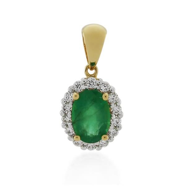 18CT Yellow Gold 0.17ct Diamond & Emerald Pendant - Monty Adams