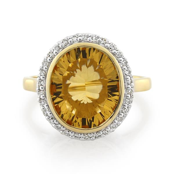9CT Yellow Gold 0.15ct Diamond & Citrine Ladies Ring Width 1.90-2.00 mm. / Thickness 1.20 mm. - Monty Adams