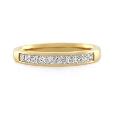Yellow gold diamond wedding ring for women