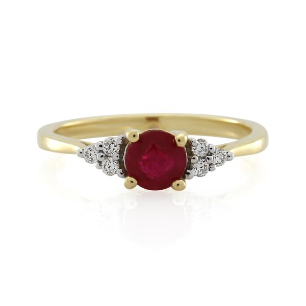 9CT Yellow Gold Diamond & Ruby Ladies Ring - Monty Adams