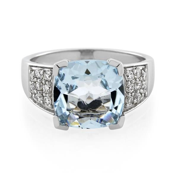 14CT White Gold 0.32ct Diamond & Aquamarine Ladies Ring - Monty Adams