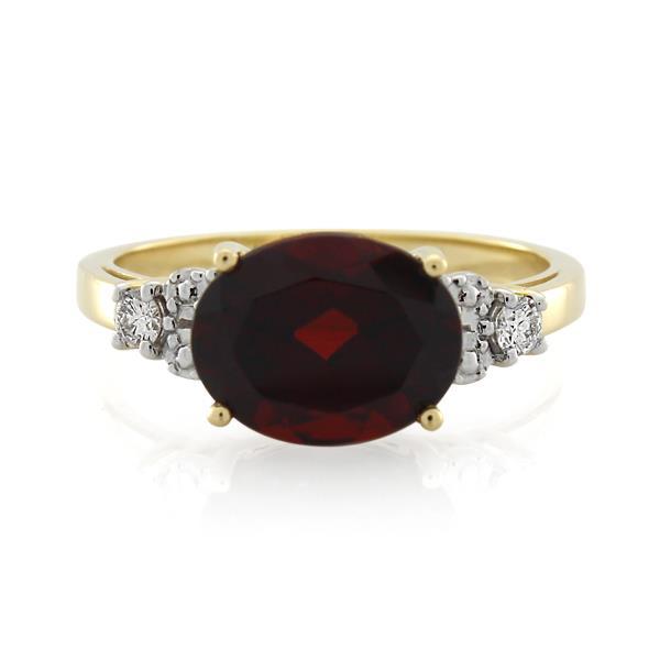9CT Yellow Gold Diamond & Garnet Ladies Ring - Monty Adams