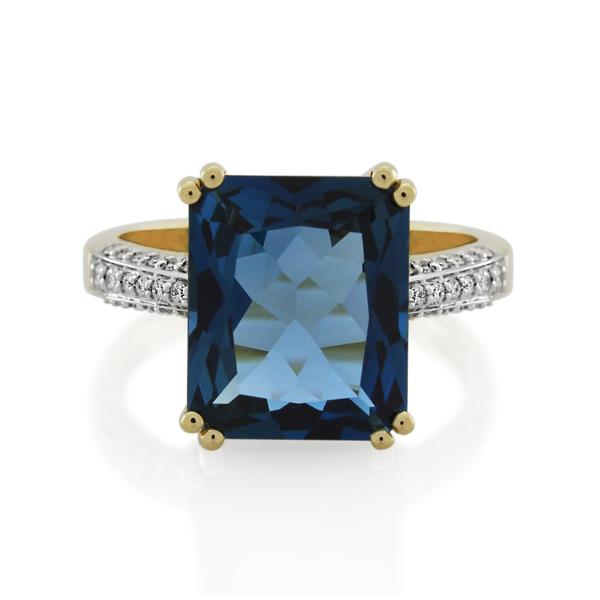 9CT Yellow Gold 0.20ct Diamond & London Blue Topaz Ladies Ring - Monty Adams