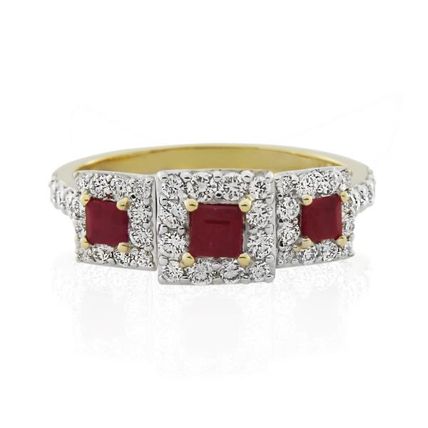 9CT Yellow Gold 0.64ct Diamond & Ruby Ladies Ring - Monty Adams