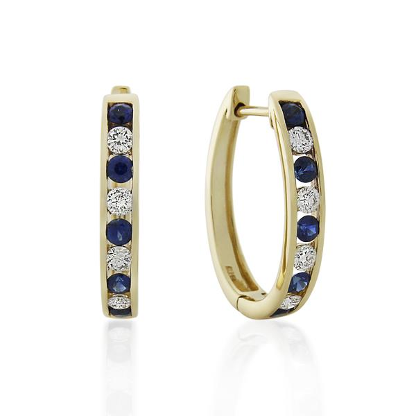 9CT Yellow Gold 0.48ct Diamond & Sapphire Earrings Width 4.0mm/Long 18.0mm - Monty Adams