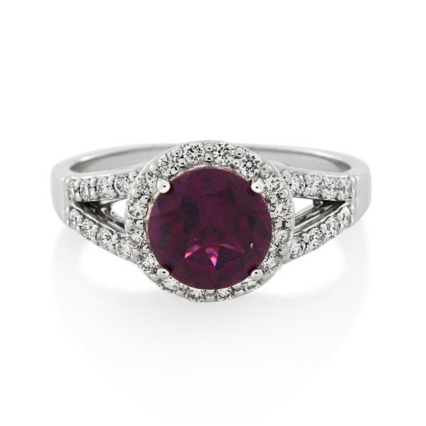 9CT White Gold 0.32ct Diamond & Rhodolite Garnet Ladies Ring - Monty Adams