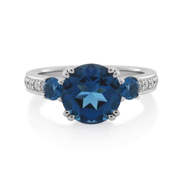9CT White Gold 0.25ct Diamond & London Blue Topaz Ladies Ring - Monty Adams
