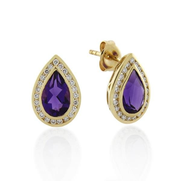 9CT Yellow Gold 0.23ct Diamond & Amethyst Earrings - Monty Adams